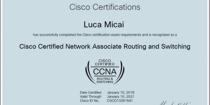 Certificato CISCO CCNA Routing & Switching