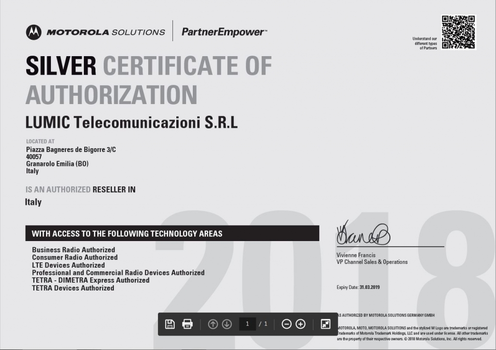 Motorola Silver certificate of Authorization